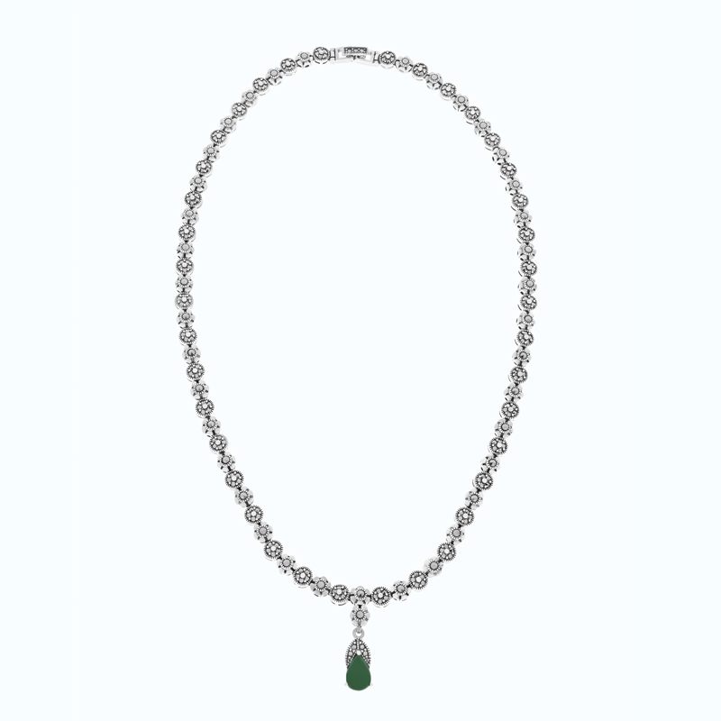 Sterling Silver 925 Set Embedded With Natural Green Agate And Marcasite Stones