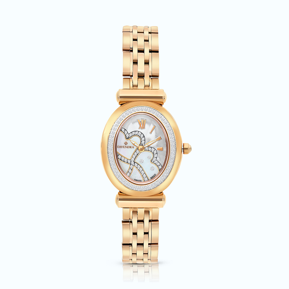 Stainless Steel Watch Rose Plated, MOP Dial