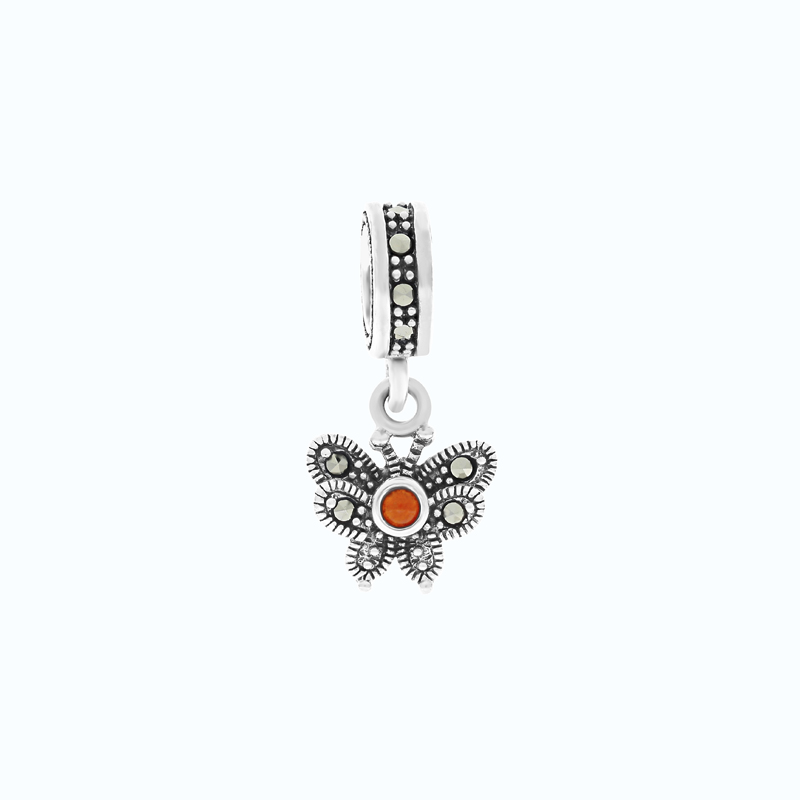 Sterling Silver 925 Charm Embedded With Natural Aqiq And Marcasite Stones