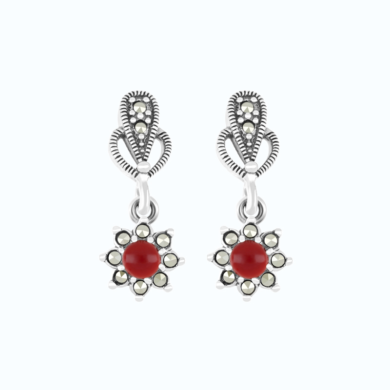 Sterling Silver 925 Earring Embedded With Natural Aqiq And Marcasite Stones