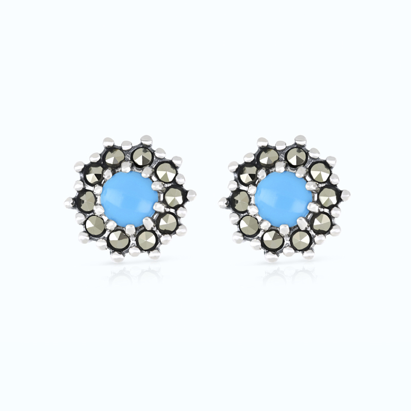 Sterling Silver 925 Earring Embedded With Natural Processed Turquoise And Marcasite Stones