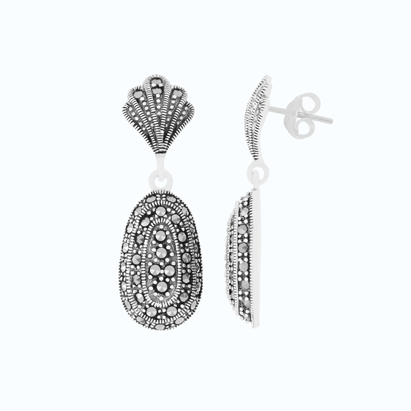 Sterling Silver 925 Earring Embedded With Marcasite Stones