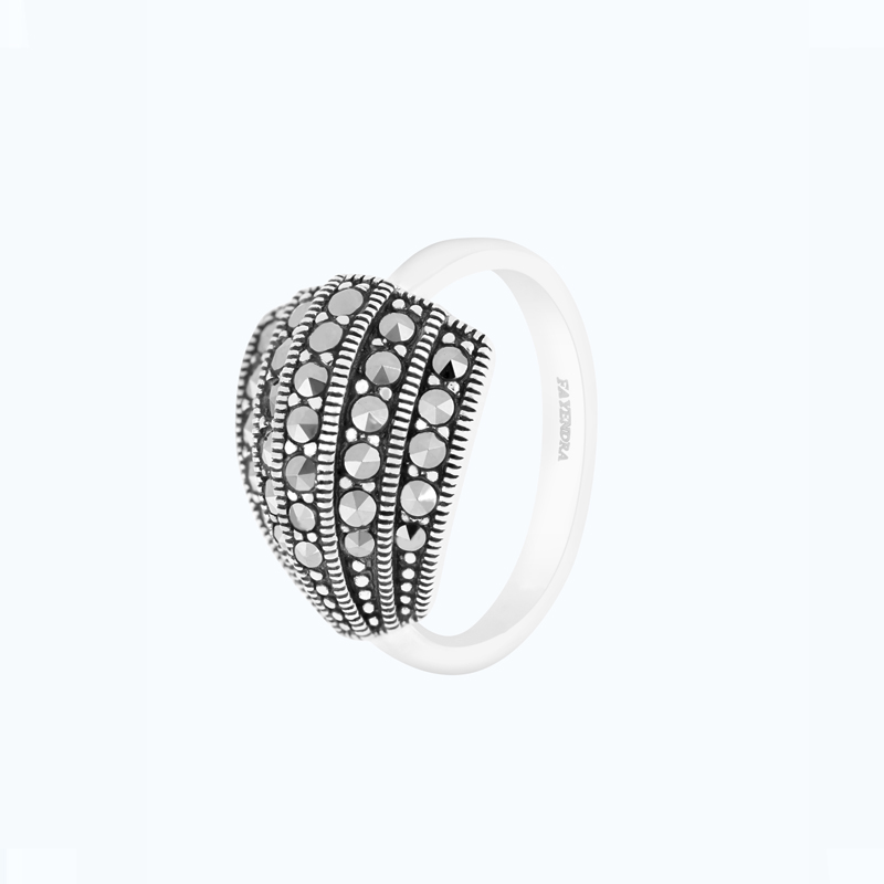 Sterling Silver 925 Ring Embedded With Marcasite Stones