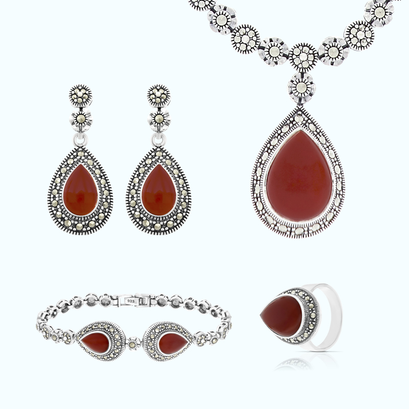 Sterling Silver 925 Set Embedded With Natural Aqiq And Marcasite Stones