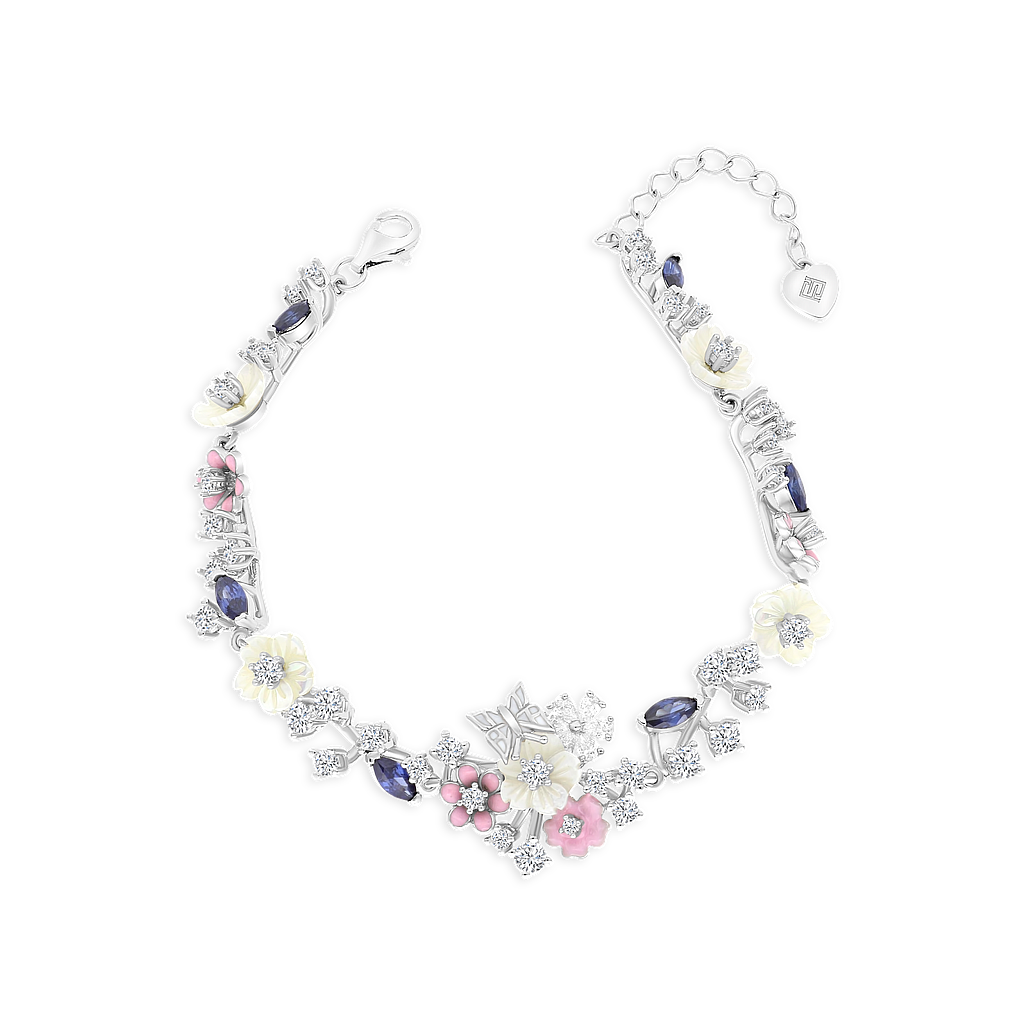 Sterling Silver 925 Bracelet Rhodium Plated Embedded With Natural White Shell, Tanzanite and Enamel