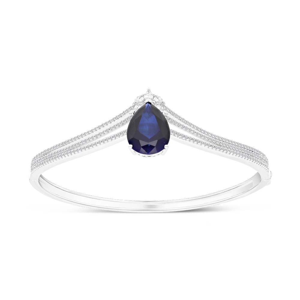 Sterling Silver 925 Bangle Rhodium Plated Embedded With Sapphire Corundum