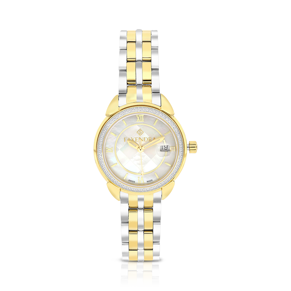 Stainless Steel 316L Watch, Rhodium And Gold Plated, MOP Dial