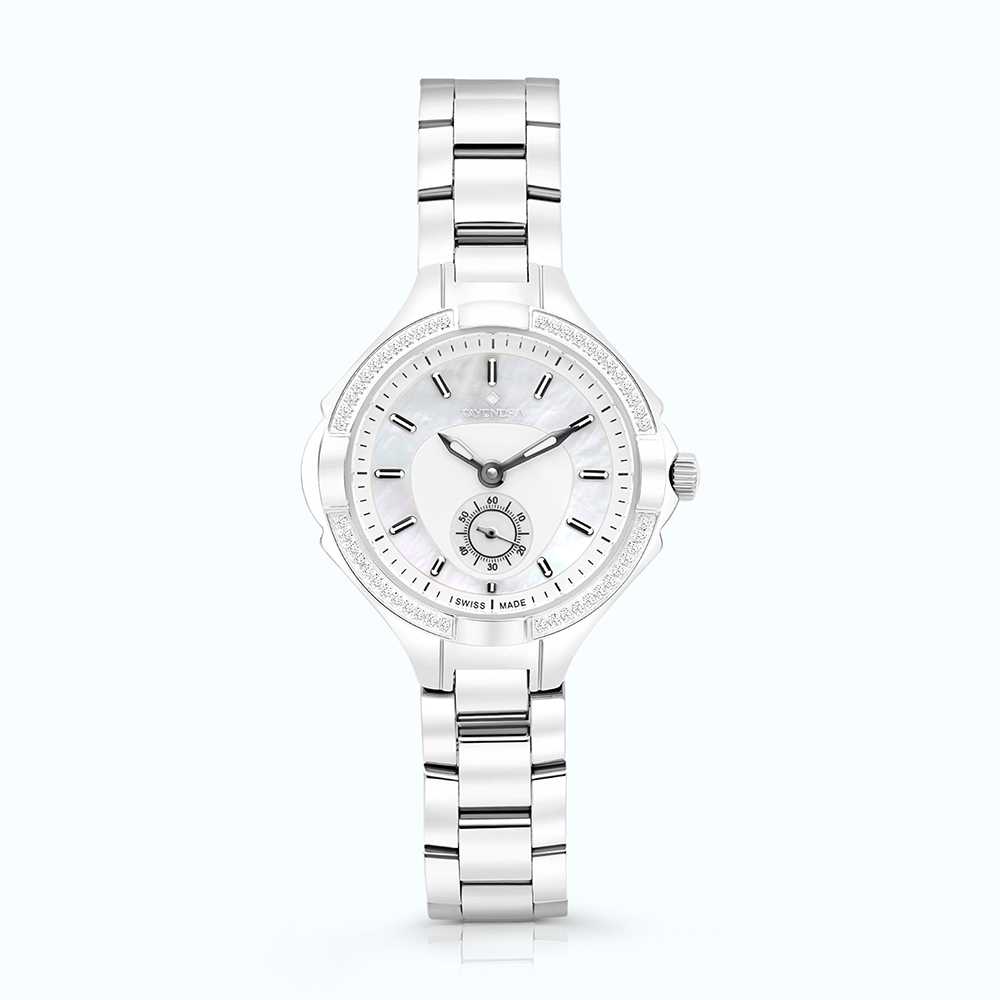 Stainless Steel Watch Rhodium Plated, MOP Dial