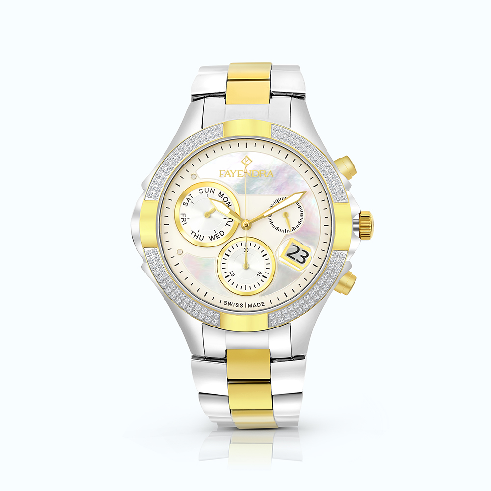 Stainless Steel Watch Rhodium And Gold Plated, MOP Dial