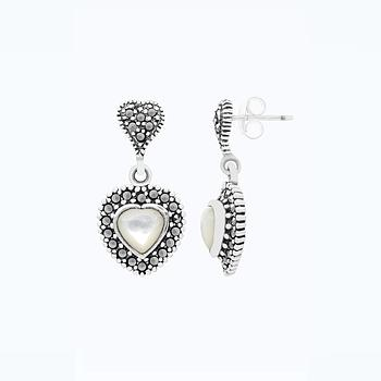 Sterling Silver 925 Earring Embedded With Natural White Shell And Marcasite Stones