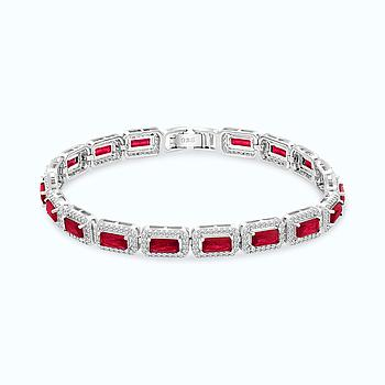 Sterling Silver 925 Bracelet Rhodium Plated Embedded With Ruby Corundum