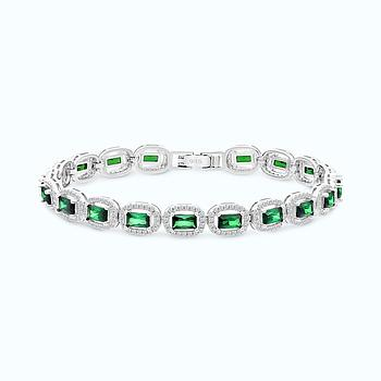 Sterling Silver 925 Bracelet Rhodium Plated Embedded With Emareld