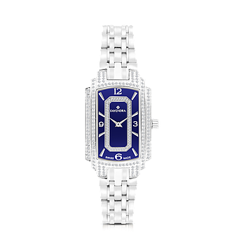 Stainless Steel 316L Watch Rhodium Plated, For Women , Blue Dial