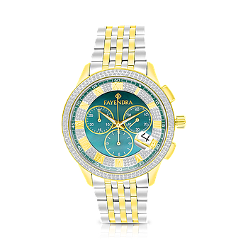 Stainless Steel 316L Watch, Rhodium And Gold Plated, Green Dial ,For Men