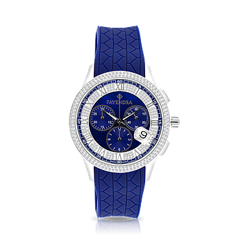 Stainless Steel 316L Watch Rhodium Plated,Blue Rubber,Blue Dial,For Men