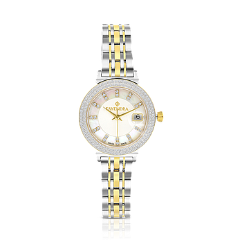 Stainless Steel 316L Watch, Rhodium And Gold Plated,Embedded With Natural Diamonds, MOP Dial
